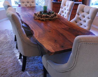 Live Edge Dining Table   Walnut   Bookmatch Slab   Reclaim / Salvaged Wood  Table
