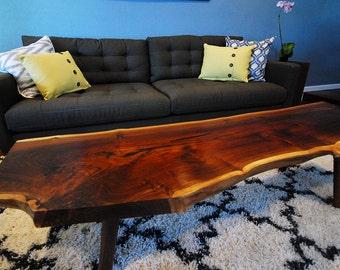 Live edge coffee table - LARGE - walnut slab - Mid Century Modern