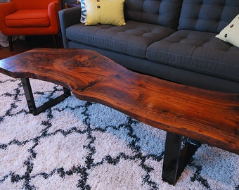 Live Edge Coffee Table - Walnut - Reclaim wood slab - Steel legs