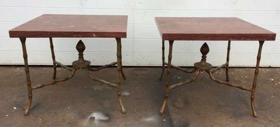 Vintage Metal And Red Marble Faux Bamboo End Tables