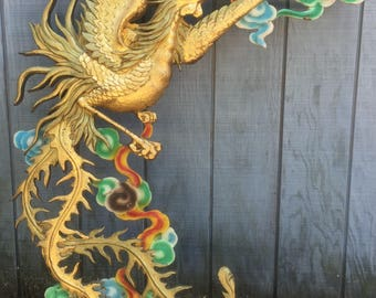 Vintage Asian Carved Wood Phoenix Wall Sculpture