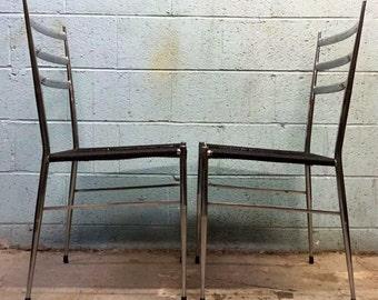 Vintage Gio Ponti Superleggra style Chrome Chairs
