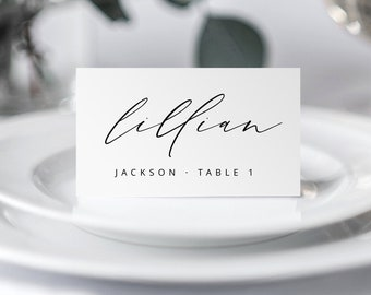 SILKA Modern Chic Script Wedding Place Cards Template INSTANT DOWNLOAD Minimalist Wedding Place Cards Name Cards Editable Printable Templett