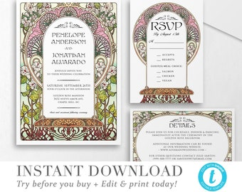 Floral Nouveau Wedding Invitation Template INSTANT DOWNLOAD Wedding Invite DIY Editable Printable Wedding Set Templett 3 piece V 05