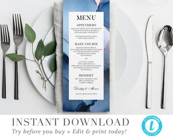 Tea length menu | Etsy