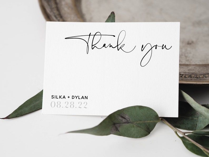 2 Sizes SILKA Modern Casual Chic Script THANK YOU card template Instant Download Editable Printable Thank You Card Set Wedding Templett