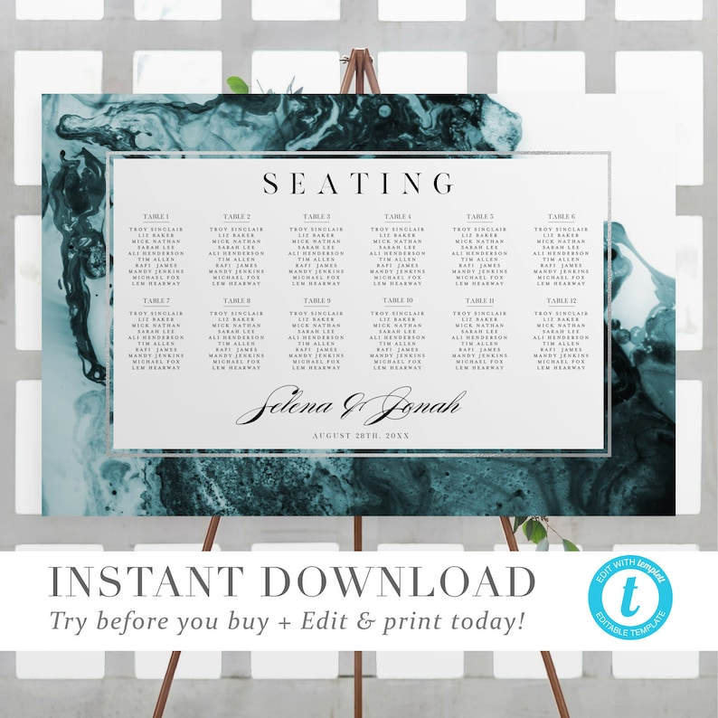 INSTANT DOWNLOAD Ethereal Wave Wedding Seating ChartTemplate Beach Wedding Seating Chart Sign DIY Fully Editable Printable Templett V02