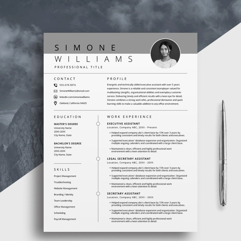 Photo Resume Template Simple Modern Printable Editable Resume Template Cover Letter Instant Download 3 Page Professional Resume Cv Design Resume Templates Paper Party Supplies Vadel Com