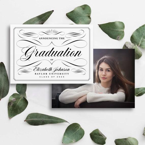GRADUATION ANNOUNCEMENT TEMPLATE 2 Versions Modern Chic Script Simple Photo Graduation Card Instant Download Editable Printable Templett