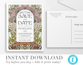 Floral Nouveau Save the Date Postcard Template INSTANT DOWNLOAD Colorful Invite DIY Editable Printable Wedding Save the Date Templett V 05