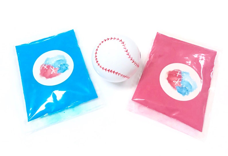 Pink & Blue ONE empty gender reveal BASEBALL with a bag of image 0