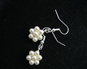 Glass Pearl Cluster Bead Earrings ~  Daisies ~ Silver Pierced Earwires