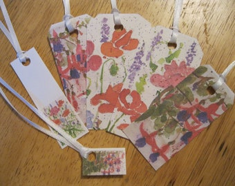 Set of Five Red and Purple Floral Gift Tags and One Miniature Card, White Ribbons, Cardstock, Gift Tags