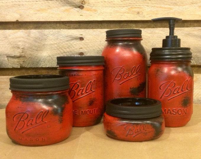 Featured listing image: Red Mason Jar Bathroom Set, Rustic Red Mason jars, Mason Jar Desk Set, Mason Jar Office Decor, Red Mason Jar Soap Dispenser, Farmhouse Decor