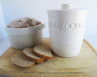 Gift for him/ sourdough crock/ white kitchen canisters/ wedding gift/ sourdough jar/ bread baker/ sourdough starter