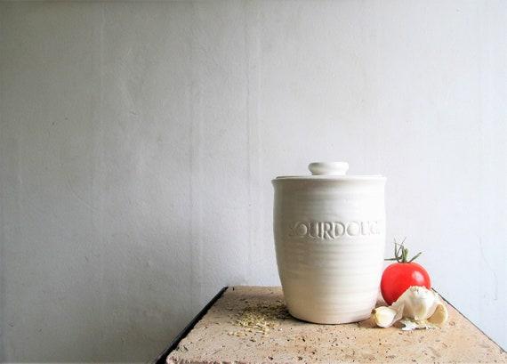 White kitchen canisters/ gift for her/ sourdough crock/ wedding gift/ salt  cellar/ sourdough jar/ canister set/ flour bin/ farmhouse decor
