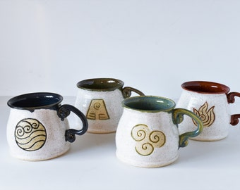 Avatar mugs 14 oz./ fire nation mug/ 4 elements mug/ The last airbender pottery mug/ ceramic mug/ gift for him/ birthday gift/ gift for her