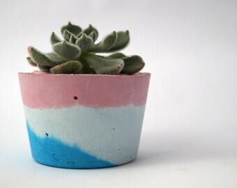 Pink, Mint & Bright Blue Concrete Vessel