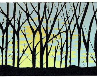Colwick Dawn – lever du soleil à travers les arbres, linogravure, gravure originale