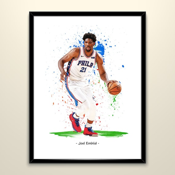 8940414ae Joel Embiid - Philadelphia 76ers Basketball Poster Matte Paper Wall Art  Print Poster Watercolor Effect Painting Home Decor