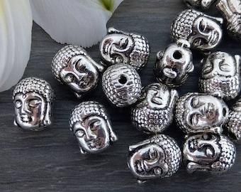 Buddha Beads, Spacer Beads, 20/50pcs, Metal Beads, Buddha Head, Yoga Jewelry Beads, Bracelet Beads, B111