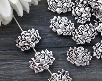 Lotus Beads, Metal Beads, 10/20pcs, Antique Silver, Flower Beads, Yoga Jewelry Supply, Yoga Charm, B109