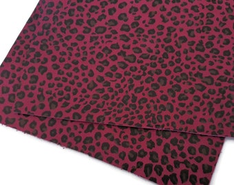 CLEARANCE 15x15cm Cranberry Red Leopard Print Suede Leather Sheets