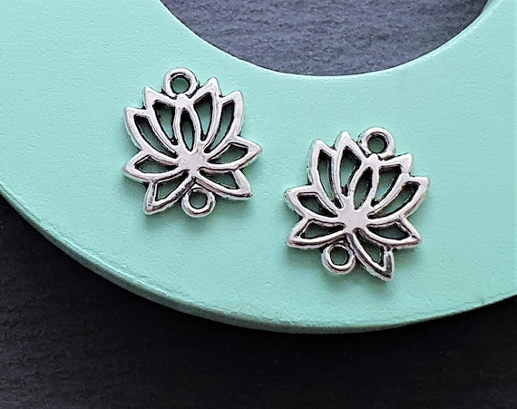 20 Lotus Flower connector charms Silver tone 16mm Lotus Links