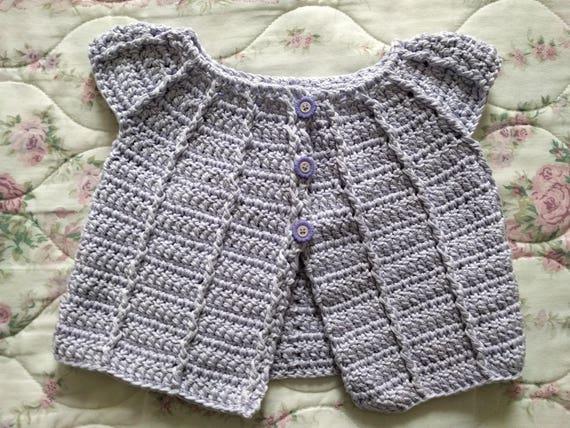 64de24b77aab Handmade Crocheted Baby Cardigan for Girls 3-6 months