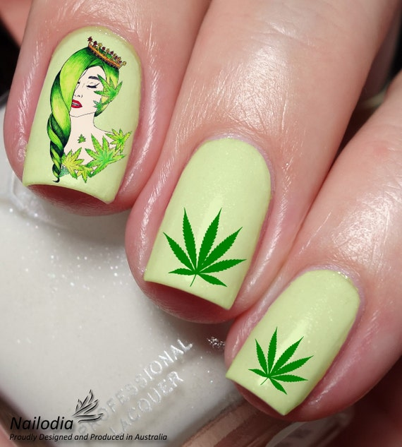 Cannabis Nail Art Sticker Water Transfer Decal 77 Etsy