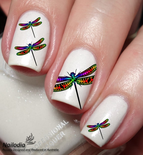 Dragonfly Nail Art Sticker Water Transfer Decal - Dragonfly Nail Art Sticker Water Transfer Decal Etsy