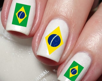 Brazil Flag Nail Art Sticker Water Transfer 177