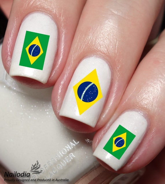 Brazil Flag Nail Art Sticker Water Transfer 177