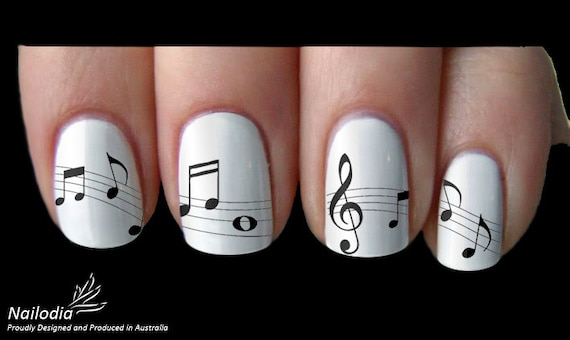 Melody Music Note Nail Art Sticker Water Transfer Decal 22 Etsy