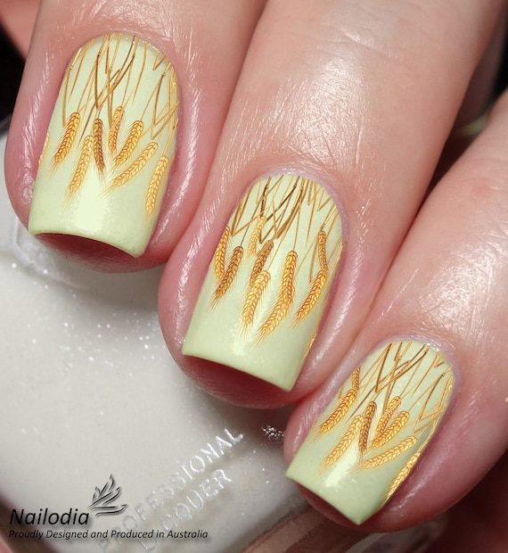 Golden Wheat Farm Nail Art Sticker Water Transfer Decal Etsy
