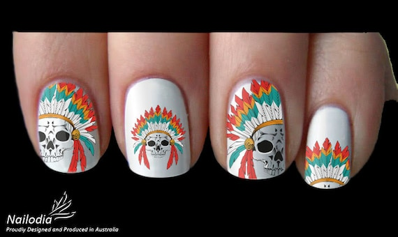 Native Indian Skull Nail Art Sticker Water Transfer Decal 101 Etsy