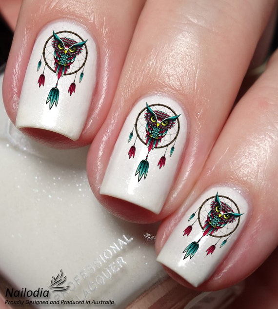 Owl Dream Catcher Nail Art Sticker Etsy