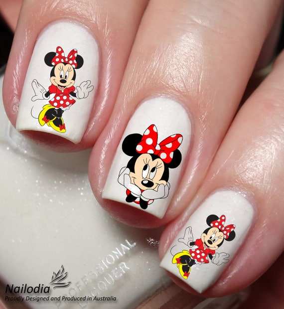 Minnie Mouse Disney Nail Art Sticker Water Transfer Decal - Minnie Mouse Disney Nail Art Sticker Water Transfer Decal Etsy