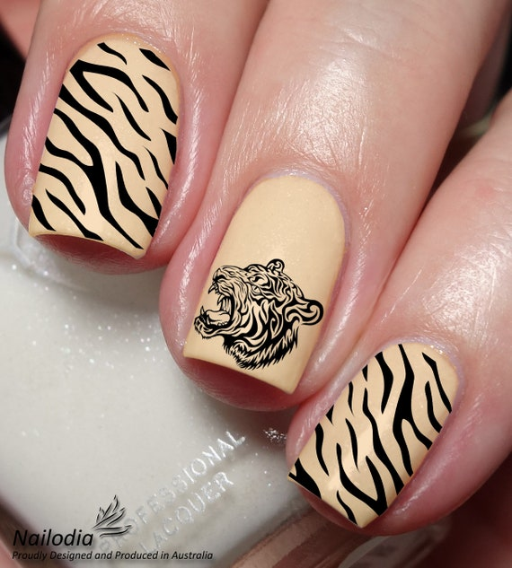 Tiger Nail Art Sticker Water Transfer Decal Etsy