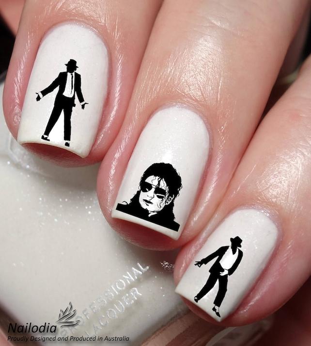 Michael Jackson Nail Art Sticker Water Transfer Decal Wrap Etsy
