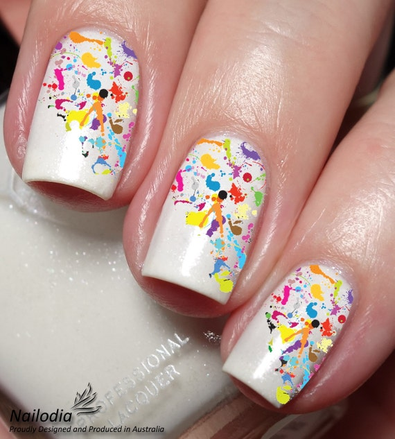 Paint Splatter Colorful Nail Art Sticker Water Transfer Decal Etsy