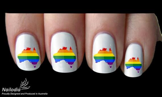 Rainbow Australia Map Mardi Gras Nail Art Sticker Water Etsy