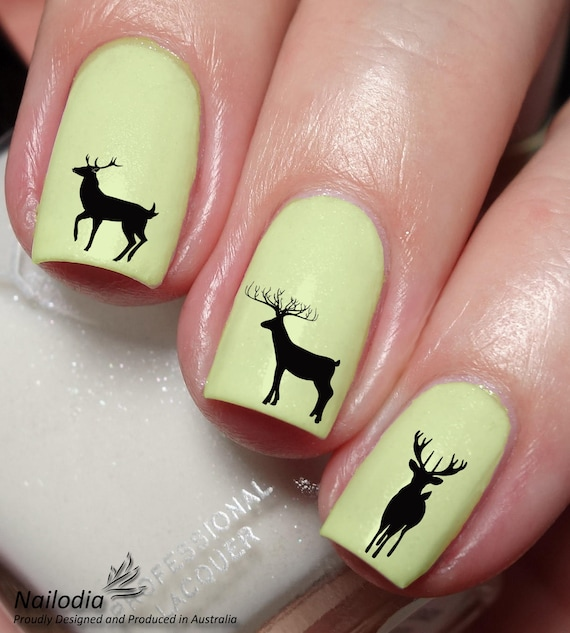 Deer Nail Art Sticker Water Transfer Decal Wrap Etsy