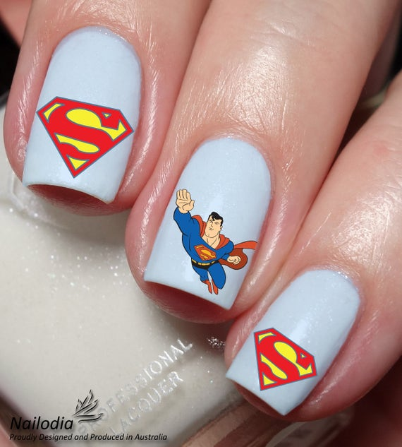 Superman Nail Art Sticker Water Transfer Decal 18   Etsy
