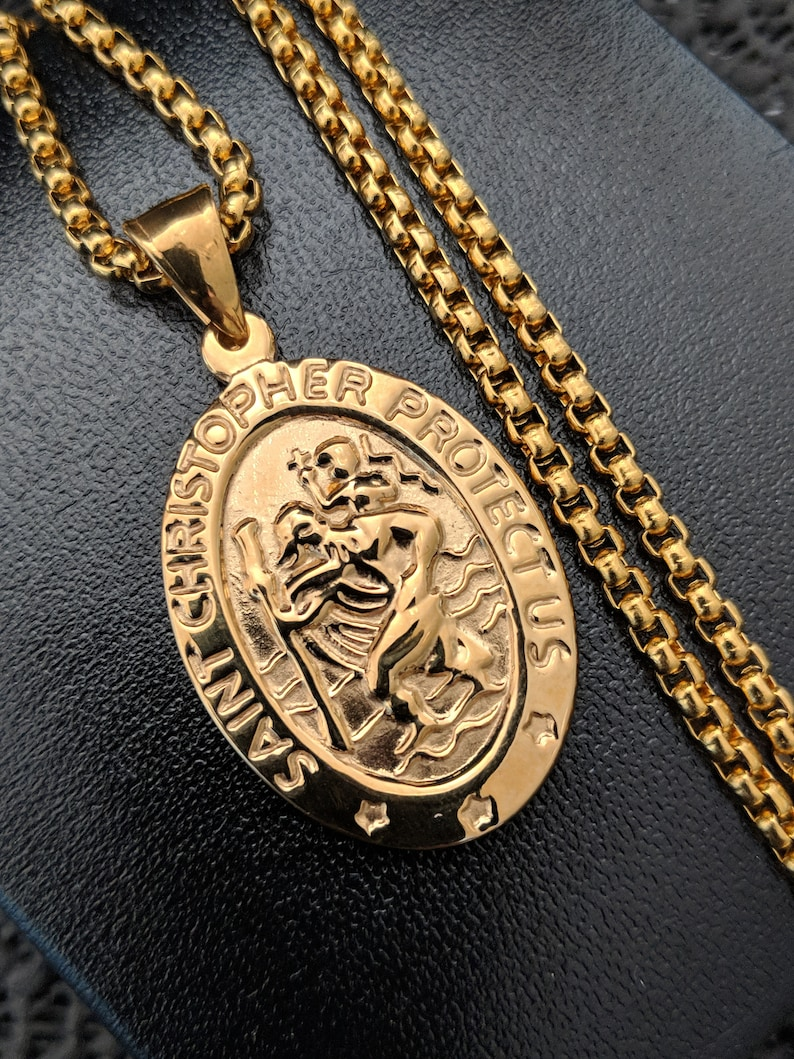 4ca852c0818e9 Mens Engraved St Christopher Necklace Gold Stainless Steel Chunky Oval  Pendant Box Chain Personalised Engraving Gift + Gift Box