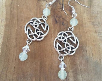 Fantastic Celtic Earrings: Princess of jade (genuine Jade and Swarovski crystals)
