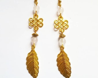 Celtic Earrings: DILYS (genuine Rose Quartz and Swarovski crystals)