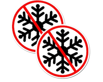 """No Snowflakes (2 Pack) 2"""" round White/Black/Red Full Color Printed Vinyl Decal Hard Hat Helmet Window Sticker"""
