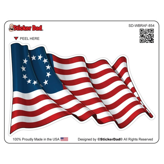 """High Quality Car Vinyl Decal 6/"""" Choose any color! USA Betsy Ross Flag"""