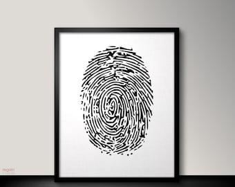 Fingerprint art, Black and white printable wall art, Black and white wall art, Instant download printable art, Black and white art print